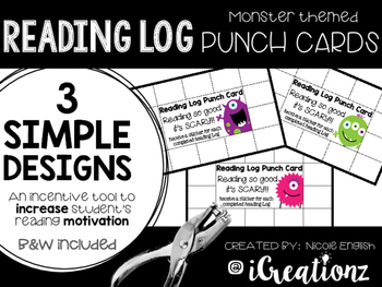 Monster Theme Reading Log Punch Cards