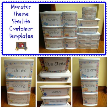 Monster Theme Sterilite Container Templates