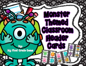 Monster Themed Classroom Header Cards