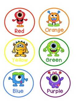 Monster Themed Colour Pencil Labels