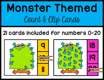 Monster Themed~ Count and Clip Cards