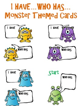 Monster Themed I Have...Who Has Game Template * Editable