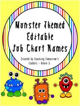 Monster Themed Name Tags - Editable