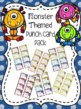 Monster Themed Punch Card Pack