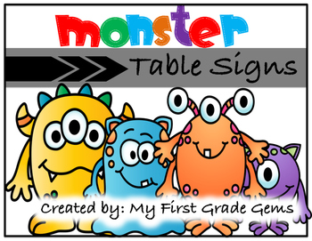 Monster Themed Table Signs
