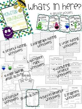 Monster Themed Writing Mechanics in Grades 2-4 {Common Cor