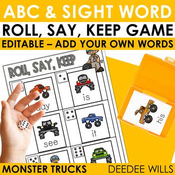 Monster Truck Sight Words Roll, Say, Keep-Editable
