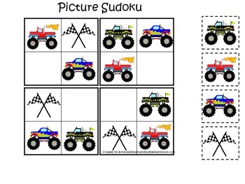 Monster Truck themed Picture Sudoku child learning activit