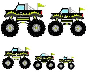 Monster Truck themed Size Sequence child learning activity