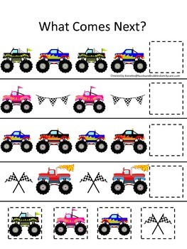 Monster Truck themed What Comes Next child math learning a