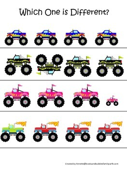 Monster Truck themed Which One is Different child learning