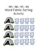 Monster Word Family Sorting Activity (-an, -ap, -at, -ay endings)