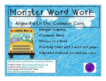 Monster Word Work