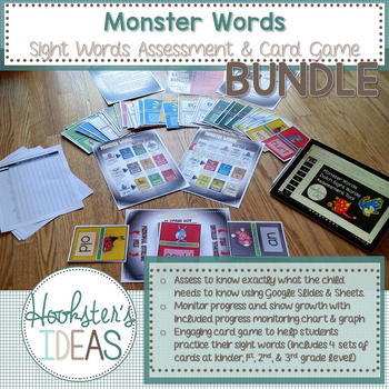 Monster Words Sight Words Assessment & Card Game BUNDLE