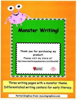 Monster Writing Pages Set