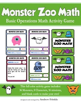 Monster Zoo Math - Activity Center Addition Subtraction Ba