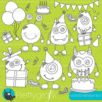 Monster birthday stamps commercial use, vector graphics, i