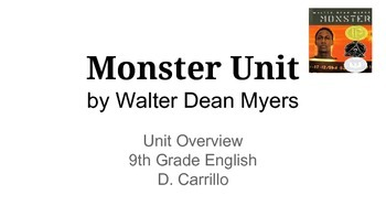 Monster by Walter Dean Myers Unit - High School English - ELA