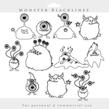 Monster clipart blacklines - line art monsters clip art wh