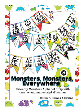 Monster themed D'Nealian manuscript and cursive Alphabet banner