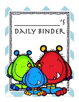 Monster themed daily binder cover