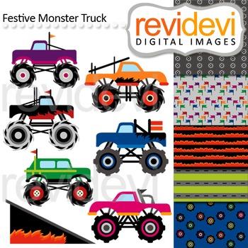 Monster trucks clip art (digital graphics and coordinating