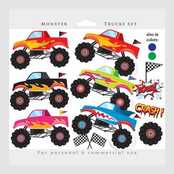 Monster trucks regular & blacklines clipart combined pack