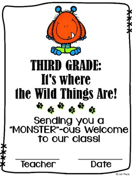"""Monster""ous Welcome to Third Grade / Grade Three Certific"