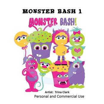 Monsters Bash 1 Clip Art  Color  personal & commercial use