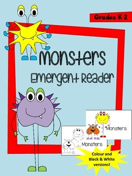 Monsters Emergent Reader - Colour and Black & White Versio