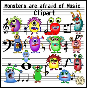 Monsters are afraid of Music clipart