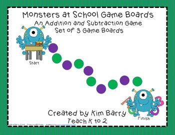 Game Boards - Addition and Subtraction Practice - Monsters