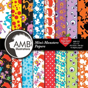 Digital Papers -  Monsters pattern digital papers, AMB-555