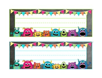 Monsters on Chalkboard Large Name Tags/Desk Plates