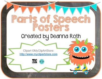 Monsters on Chalkboard Parts of Speech Posters