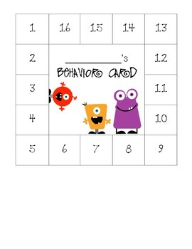 Monster Themed Behavior Card