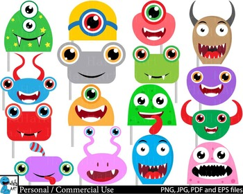 Monstres Heads Props v1 - Clip Art Digital Files Personal