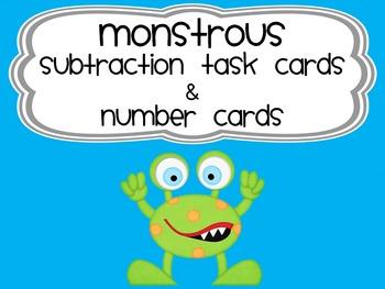 Monstrous subtraction task cards