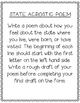 Montana State Acrostic Poem Template, Project, Activity, W