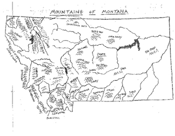 Montana Mountains Map with Names