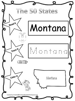 Montana Read it, Trace it, Color it Learn the States presc