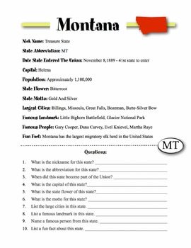 Montana State Information & Worksheet