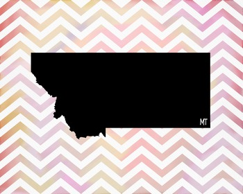 Montana Chevron State Map Class Decor, Government, Geography