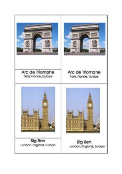 Montessori 3 part cards - World Landmarks