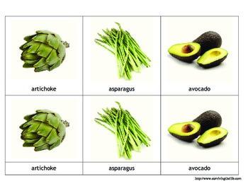 Montessori 3-part cards vegetables