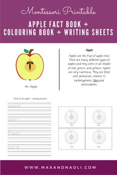 Montessori Apple Fact Book, Colouring Book & Writing Sheets
