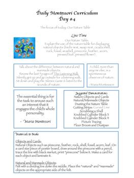Montessori Daily Lesson Plan #4