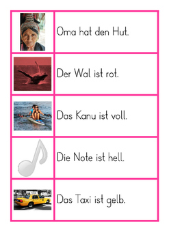 Montessori German / Deutsch Pinke Sätze