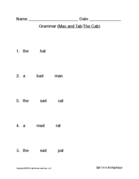 Montessori Grammar (Art/Adj/Noun) for Primary Phonics Sets