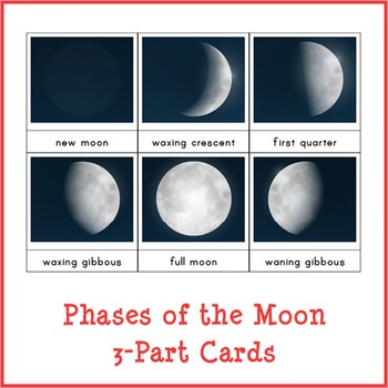 Montessori Phases of the Moon 3-part Cards